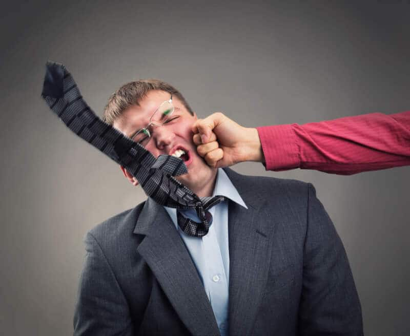 Aggressive office worker put up a fight